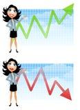 affärskvinnan charts försäljningar Royaltyfri Bild
