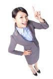Affärskvinnan fingrar att peka upp Arkivbilder