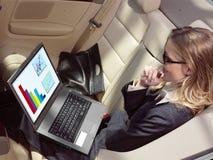 Affärskvinnan har en fan med bärbara datorn Royaltyfria Bilder