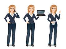 Affärskvinnan i dräkt i olikt poserar stock illustrationer