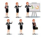 Affärskvinnan i olikt poserar Plan design Arkivbilder