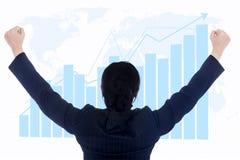 Lyckad global investering för affärskvinna Royaltyfria Foton