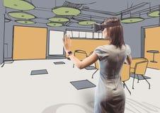 Affärskvinnan med exponeringsglas som 3D ser kontoret, fodrar med färg vektor illustrationer
