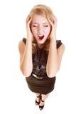 Affärskvinnan med huvudvärkhuvudet smärtar att skrika Fotografering för Bildbyråer