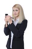 Affärskvinnan med ringer Arkivbild