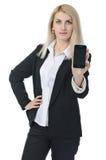 Affärskvinnan med ringer Arkivbilder