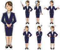Affärskvinnan poserar 7 sorter av ny anställningjobbjakt stock illustrationer