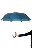 Affärskvinnan rymmer det blåa paraplyet Royaltyfria Bilder