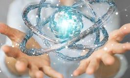 Affärskvinnan som använder den futuristiska toruset, texturerade renderin för objekt 3D Arkivfoton