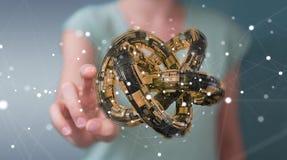 Affärskvinnan som använder den futuristiska toruset, texturerade renderin för objekt 3D Royaltyfri Bild