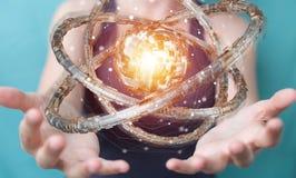 Affärskvinnan som använder den futuristiska toruset, texturerade renderin för objekt 3D Royaltyfria Bilder
