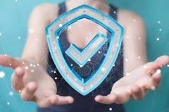 Affärskvinnan som använder moderna data, skyddar tolkningen för antivirus 3D Fotografering för Bildbyråer