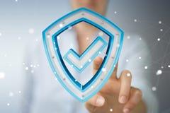 Affärskvinnan som använder moderna data, skyddar tolkningen för antivirus 3D Royaltyfri Bild