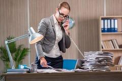 Affärskvinnan som arbetar i kontoret royaltyfria bilder