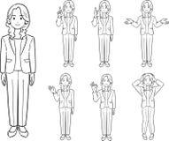 Affärskvinnan som bär ett omslag, 7 poserar 1, linjen teckning royaltyfri illustrationer