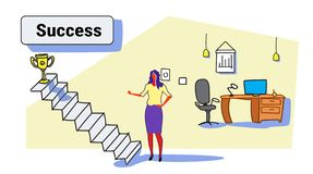 Affärskvinnan som klättrar trappa, rusar för vinnaretrofé för stege upp till ledarskap för strategi för guld- affärskvinna för ko royaltyfri illustrationer
