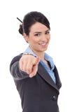 Affärskvinnan som pekar henne, fingrar Royaltyfri Bild