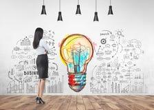 Affärskvinnan som ser väggen, startar upp idé stock illustrationer