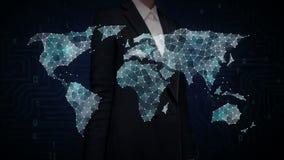 Affärskvinnan som trycker på prickar, samlar för att skapa den globala världskartan, internet av saker Finansiell teknologi royaltyfri illustrationer