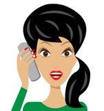 Affärskvinnan talar känslomässigt vid telefonen stock illustrationer