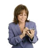 affärskvinnan tycker om pda fotografering för bildbyråer