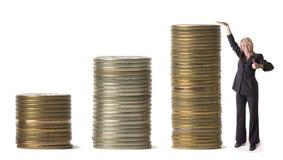 affärskvinnapengar Arkivfoto