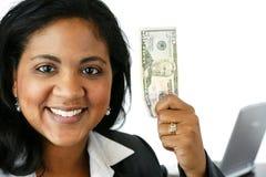affärskvinnapengar fotografering för bildbyråer
