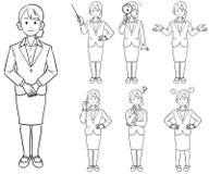 Affärskvinnas 7 sorter av poserar, ny anställningjobbjakt vektor illustrationer