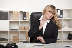 affärskvinnaspänning under Arkivfoto