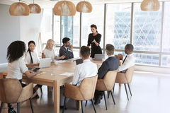 AffärskvinnaStands To Address möte runt om brädetabellen royaltyfri bild