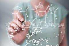 Affärskvinnateckningsförnybara energikällor skissar Arkivfoton