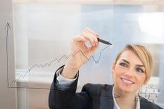 Affärskvinnateckningsgraf på den glass skärmen Arkivbild