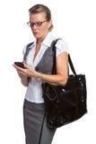 affärskvinnatelefon Fotografering för Bildbyråer