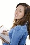 Affärskvinnawritinganmärkning Arkivbilder