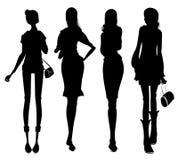 affärskvinnligsilhouette stock illustrationer