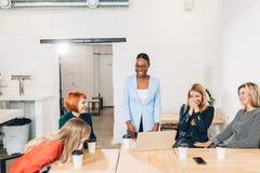 Affärskvinnor gratulerar hennes kollega på möte fotografering för bildbyråer