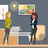 Affärskvinnor som arbetar i Co-wotking som Freelancer stock illustrationer
