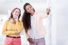 Affärskvinnor som förbereder presentation royaltyfria bilder