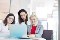 Affärskvinnor som i regeringsställning använder bärbara datorn på tabellen Arkivbild