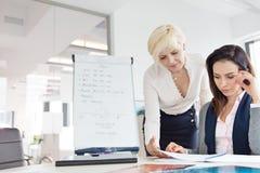 Affärskvinnor som i regeringsställning granskar projekt på skrivbordet Royaltyfri Bild