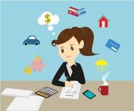 Affärskvinnor som klarar av kontofamiljfinanser för inkomst och före detta stock illustrationer