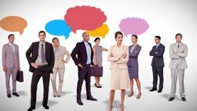 Affärslaganseende med anförandebubblor stock illustrationer
