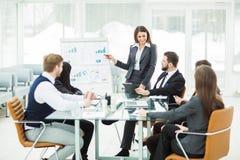 affärslaget ger en presentation av ett nytt finansiellt projekt för affärspartnerna av företaget royaltyfri foto