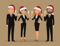 Affärslaget gratulerar dig på julferier vektor illustrationer