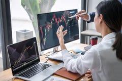 Affärslaginvestering som arbetar med datoren, planläggning och analyserar grafaktiemarknadhandel med materieldiagramdata, affär fotografering för bildbyråer