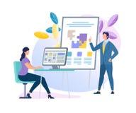 Affärslagledare Character Making Presentation vektor illustrationer