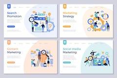 Affärslandningsidor Marknadsföra bilder för vektor för befordran för folk för mall för websitedesignorientering moderna royaltyfri illustrationer