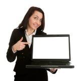 affärslaptopn som presenterar kvinnan Arkivfoto