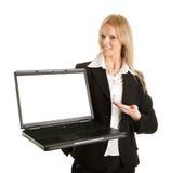 affärslaptopn som presenterar kvinnan Arkivbilder