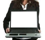 affärslaptopn som presenterar kvinnan Arkivbild